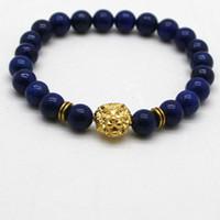 Wholesale Lapis Lazuli Gold Bracelet - whole saleNatural Stones Silver Gold Copper Lion Charm Bracelets With Lapis Lazuli Beads Men Bracelets Women Wrap Jewelry Accessories