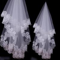 velo 1.5m al por mayor-2018 Recién llegado de velo barato Applique una capa 1.5M velo de novia blanco marfil rojo 3 colores