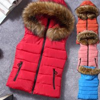 Winter New Women's Hooded Coat Cotton-Padded Vest Fur Collar Hooded Winter Coat For Woman Outerwear Vest
