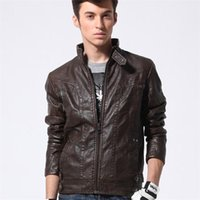 Wholesale faux fur suede jackets - Autumn Winter Brand Leather Jacket Men's Slim Brown Stand Collar Bomber Jacket Faux Leather Fur Coat Suede