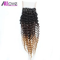 Wholesale closure for sale - Group buy Allove A T1b Brazilian Lace Closure Curly Peruvian Hair Bundles Indian Virgin Hair Malaysian Curly Hair Extensions