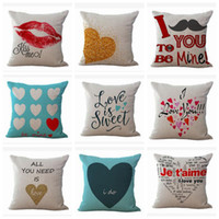 Wholesale gift pillow love - Valentine s Day Cushion Cover Love Printing Sofa Pillows Covers Heart Pillow Case Lover s Gift Home Decor Designs YW443