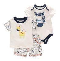 Wholesale cute deer - NEW ARRIVAL baby Kids sets 100%Cotton short Sleeve cartoon cute deer baby kids's set causal summerkids set t shirt+ pant