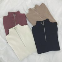 Hot selling Zipper Turtleneck Solid Women Sweater Skinny Elastic Knitted Full Sleeve Pullover Feminino Soft Femme Spring Jumper High Quality