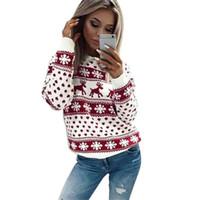 mujeres más sudadera con capucha del marrón al por mayor-2017 sudaderas con capucha de las mujeres de navidad con la impresión de reno de lujo sudadera de invierno ropa de mujer de manga larga suelta ocasional