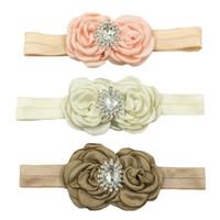 ingrosso bei accessori della neonata-fiori arricciati in raso con diamanti Accessori per capelli carino per bambina, bella fascia per principessa!