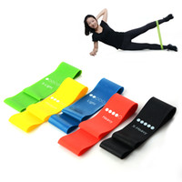 Wholesale strength band latex online - 5 Pieces Fitness Yoga Resistance Bands Health Elastic Sport Body Latex Belt Pull Strap Force Arm Thigh Strength Training Strap
