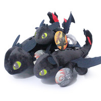 Wholesale night fury plush stuffed animal for sale - Group buy Dragon plush toys Toothless Night Fury stuffed doll kids Toys Stuffed Plus Animals Black Plush Toy Novelty Items GGA1314
