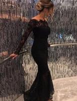 siyah yüksek düşük formel elbiseler toptan satış-Seksi Arapça Siyah Kapalı Omuz Uzun Kollu Dantel Abiye Bateau Boyun Yüksek Düşük Örgün Parti Balo Kokteyl Elbiseleri