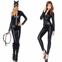 Wholesale Leather Animal Suits - New Sexy Cat Suit Fancy Dress Shiny Super Hero Black Animal Leather Cat Womens Costume Halloween Costumes For Women
