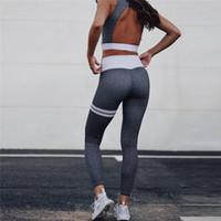 ingrosso yoga grigio pantaloni donne-Tute da allenamento per donna Workout sexy backless crop canotta Pantaloni a vita alta legging pantaloni 2 pezzi set moda femminile tuta grigia