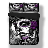 Wholesale Wongsbedline New Design Skull Women Duvet Cover Pillow Case Twin Full Queen King Size Bedclothes