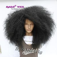 cabelos premium kinky venda por atacado-Premium Big Afro kinky peruca de cabelo encaracolado peruca dianteira do laço Sintético encaracolado deve comprimento kinky encaracolado mulher negra cheia de rendas frente perucas