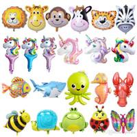 leão brinquedo de natal venda por atacado-16 inch Balloon Lionmonkeyzebradeercowelephantpig Unicorn Cabeça Foil Balão Animal Air theme festa de aniversário Xmas Natal Crianças brinquedos
