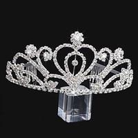 güzel taç toptan satış-El yapımı Lüks Gümüş Düğün Gelin Kristal Taç Nedime Büyük Tiaras Kız Için Güzel Hediye 12.6 * 6.5 CM H0014