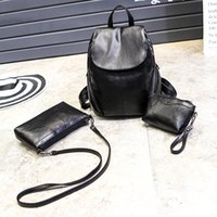 Wholesale small black back pack resale online - High Quality PU Backpacks Three piece New European and American Fashion Ladies Bag Short distance Sports Back Packs Shoulder Bags