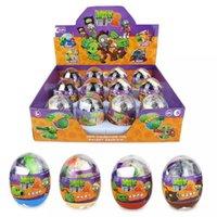zombi bitki toptan satış-Bitkiler vs Zombies Yapı Taşları Çekim Oyuncaklar Paskalya Yumurtaları 4 Adet Set