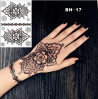 ingrosso tatuaggi neri di hennè-# BH-17 Adesivo per il corpo con tatuaggio temporaneo ispirato al tatuaggio a forma di hennè