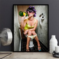 Wholesale bar wall canvas art resale online - Bar bathroom decoration painting Europe toilets hanging sexy women wall picture and wall poster Modular pictures pop art