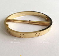 Wholesale bracelet designs for ladies online - Popular fashion brand High version screw bangle bracelet for lady Design Women Party Wedding Lovers gift Luxury Jewelry for Bride With BOX