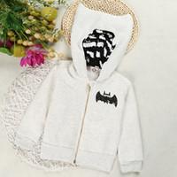 Wholesale batman clothes for kids resale online - cute baby kids hoodie sweatshirt cartoon batman thick hooded coat for month children infant newborn fur hoodie coat clothing