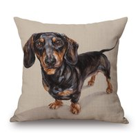 Wholesale dachshund pillow - Dachshund Sausage Dog Cushion Cover Hand Painting Dogs Art Cushion Covers Sofa Throws Decorative Linen Cotton Pillow Case