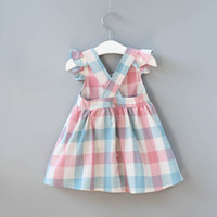Wholesale embroidered back dress - 2018 INS hot selling summer girl kids plaid ruffles dress kids round collar sleeveless back hollow out elegant dress