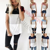 Wholesale color block tee shirts - 2018 Summer Tops Striped T Shirt Women Color Block Short Sleeve Casual Knitted Tee Tunics female t-shirt