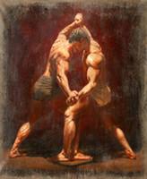 ingrosso uomo d'arte nude-Dipinto a mano HD Stampa Ritratto Pittura A Olio di Arte nudi ragazzi giovani uomini forti lottatori su Tela Home Decor Wall Art Multi Taglie p313