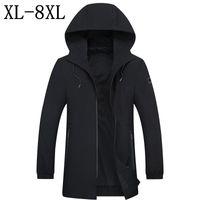 мужское пальто черное модное пальто оптовых-6XL 7XL 8XL 2018 New Casual Trench Coat Men Fashion Male Hooded Long Black Trench Jacket -Clothing Mens Overcoat