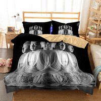 Wholesale black king size bedding - Five Buddhas Pattern Printed Bedding Sets All Sizes Pillow Case Quilt Cover Duvet Cover No Filler