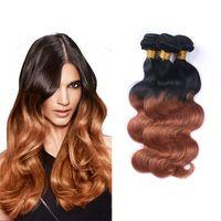 Wholesale Cheap Colored Hair Dye - 8A Grade Brazilian Virgin Wavy Colored Hair Ombre 1B 30 Body Wave 3 Bundles Cheap Human Hair Products 100g pcs Remy Weave Extensions
