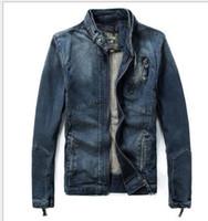 abrigo de moda militar para hombres al por mayor-Vintage Military Jacket New 2015 Denim Jacket Men Fashion Brand Hole Slim Blue Jean Chaquetas para hombre, Abrigo de invierno para hombre Top al aire libre
