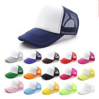 Wholesale making custom hats - 14 colors Kids Trucker Cap Adult Mesh Caps Blank Trucker Hats Snapback Hats Acept Custom Made Logo free shipping B11