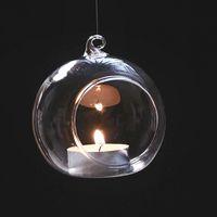 ingrosso portacandele appendente in vetro di nozze-DHL Ship Hanging Glass Tea Light portacandele Glass Globe Portacandele per la festa di nozze Home XMAS Decor WX9-475