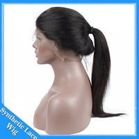 de boa qualidade lace front wigs venda por atacado-Barato 16-26 polegada boa qualidade de seda sintética reta peruca dianteira do laço / peruca cheia do laço resistente ao calor suíço rendas para as mulheres negras frete grátis
