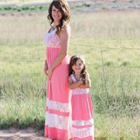 Wholesale Mother Dresses Clothes Plus - Family Matching Outfit Clothing Mother Daughter Plus Size Long Dress Mom Girl Kids Patchwork Print Parent-child Dress Vestidos