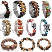 Wholesale Beaded Wooden Bracelet - Wooden Bead Bracelet 69 Styles Mix Stretch Adjustable Strands Chain Skull Jesus Madonna Flower Drum Abacus Wood Beads Bracelets New (JM012)