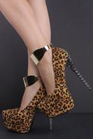 sandalias pulgadas al por mayor-Tamaño grande 35-42 zapatos mujer 2018 nueva moda leopardo remache plataforma tacones altos 6 pulgadas sapato mujeres bombas sandalias envío gratis