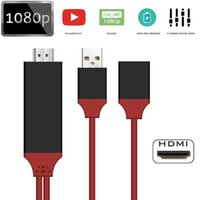 Wholesale red hdmi cable - Universal HDMI Adapter Cable To HDTV 3 in 1 USB Cable Connector For Samsung Galaxy S8 Edge Note 5 iPhone 8 X LG G4 iPad Air2 With Retail Box