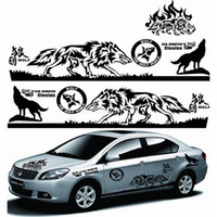 Wholesale Wolf Body Decals - 1 Set Styling Wolf Totem Car Auto Body Side Wolf Decal Emblem Vinyl Personality Sticker