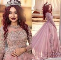 4c5bbe2251f9 New Crew 2018 Abiti da sposa donna A-line musulmano arabo maniche lunghe abiti  da sposa Bling pizzo Appliqued Crystal Plus Size abito da treno corte
