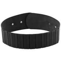 cinto de estiramento preto largo venda por atacado-Moda Feminina Vintage Wide Elastic Stretch Cinto Com Fivela Interlock (Black)