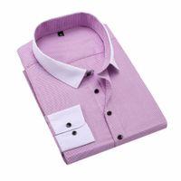 ingrosso le camicie lunghe del vestito dal collare-Camicia a maniche lunghe scozzese da uomo a maniche lunghe in colletto solido Fit Fit Business sociale maschile B03