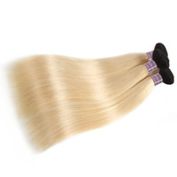 Wholesale 613 hair weave resale online - 2018 New Arrival ProductsT1B Blonde Hair Bundles Straight Brazilian Human Hair Extension inch To inch Remy Peruvian Hair Weave