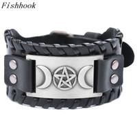 рыболовные украшения оптовых-Fishhook Punk Star& Moon Design Antique Silver/Gold/Copper Black Toggle-Clasps Wide Leather Bracelet Fashion Male Jewelry