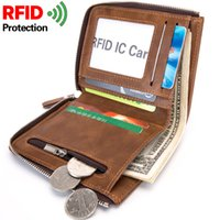 Wholesale Mens Rfid Wallets - RFID Theft Protect Coin Bag Zipper Men Wallets Famous Brand Mens Wallet Male Money Purses Wallets New Design Top Men Wallet