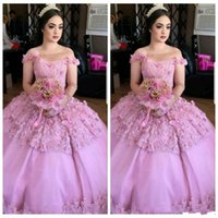 Wholesale age 12 dresses for sale - Group buy Sweet Ages Gown Lace Quinceanera Dresses Bateau Neck Floral Tulle Bodice Long Prom Dresses Pageant Formal Party Ball Custom
