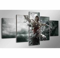 Wholesale seascape oil paintings canvas resale online - Assassins Creed Pieces Canvas Prints Wall Art Oil Painting Home Decor Unframed Framed