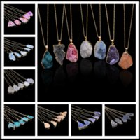 Wholesale natural pearl necklaces for sale - Fantastic Colors Crystal Quartz Healing Point Chakra Bead Necklace Pendant Original Natural Gemstone Pendant Choker Jewelry Chains